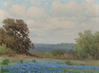 PORFIRIO SALINAS (American, 1910-1973) Bluebonnet Season Oil on canvas laid on board 9 x 12 inche