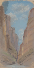 Fine Art - Work on Paper:Drawing, JESSIE DAVIS (American, 1887-1969). Canyon, No. 368. Pastelon card. 9 x 4-1/2 inches (22.9 x 11.4 cm). Numbered verso. ...
