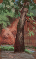 Fine Art - Work on Paper:Drawing, JESSIE DAVIS (American, 1887-1969). Lone Tree. Pastel onsandpaper. 9 x 5-1/2 inches (22.9 x 14.0 cm). Signed lower righ...