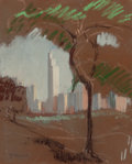 Texas, JESSIE DAVIS (American, 1887-1969). Unfinished View of Dallas,No. 305. Pastel on sandpaper. 11 x 9 inches (27.9 x 22.9 ...