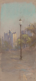 Texas, JESSIE DAVIS (American, 1887-1969). View of Fort Worth, No.375. Pastel on card. 8-5/8 x 4 inches (21.9 x 10.2 cm). Num...
