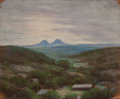 Texas, JESSIE DAVIS (American, 1887-1969). Fort Davis Landscape.Pastel on sandpaper. 9 x 11 inches (22.9 x 27.9 cm). Signed lo...