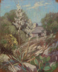 Works on Paper, JESSIE DAVIS (American, 1887-1969). Cabin with Cactus and Century Plant. Pastel on sandpaper. 11 x 9 inches (27.9 x 22.9...