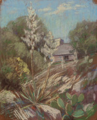 JESSIE DAVIS (American, 1887-1969) Cabin with Cactus and Century Plant Pastel on sandpaper 11 x 9