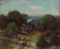 Texas, JESSIE DAVIS (American, 1887-1969). Barn and Gate. Pastel onsandpaper. 9 x 11 inches (22.9 x 27.9 cm). Signed and dated...