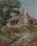 Texas:Early Texas Art - Drawings & Prints, JESSIE DAVIS (American, 1887-1969). Hilltop Cabin. Pastel onpaper laid on board. 11 x 9 inches (27.9 x 22.9 cm) (sheet)...