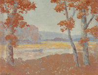 FREDERICK JARVIS (American, 1868-1944) View Through the Trees on a Fall Afternoon Oil on canvas laid