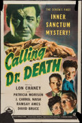 "Movie Posters:Mystery, Calling Dr. Death (Universal, 1943). One Sheet (27"" X 41"").Mystery.. ..."