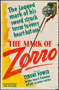 "The Mark of Zorro (20th Century Fox, 1940). One Sheet (27"" X 41"") Style B. Swashbuckler"