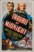 "Movie Posters:Crime, Trouble At Midnight (Universal, 1938). One Sheet (27"" X 41"").Crime.. ..."