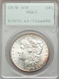 Morgan Dollars: , 1878 8TF $1 MS63 PCGS. PCGS Population (4034/3056). NGC Census:(2863/2370). Mintage: 699,300. Numismedia Wsl. Price for pr...