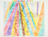 LARRY RIVERS (American, 1925-2002) Untitled (Rainbow Rider), 1982 Mixed media on paper 30 x 38 in