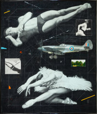 JOSEPH PICCILLO (American, b. 1941) Untitled (Diver, Airplane and Ballerina) Mixed media on canvas