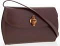Luxury Accessories:Bags, Gucci Brown Leather Crossbody Bag with Bamboo Closure . ...