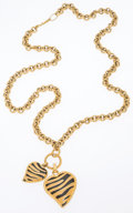 Luxury Accessories:Accessories, Just Cavalli Gold Animal Print Heart Pendant Necklace. ...