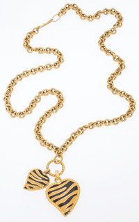 Just Cavalli Gold Animal Print Heart Pendant Necklace