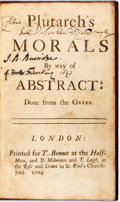 Books:Philosophy, Plutarch's Morals by Way of Abstract. London: T. Bennet, 1704. Rebound in modern, embossed full calf with red morocc...