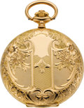 Timepieces:Pocket (post 1900), Tavannes Watch Co. New Condition Gent's Fancy Gold Hunters Case,circa 1915. ...
