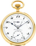 Timepieces:Pocket (post 1900), Dietrich Gruen Rare Gold 23 Jewel Wind Indicator, circa 1919. ...