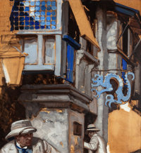 DEAN CORNWELL (American, 1892-1960) Pursuit, 1921 Oil on board 21 x 19 in. Signed and dated up