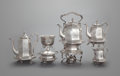 Silver & Vertu:Hollowware, A FIVE PIECE JOHN CHANDLER MOORE COIN SILVER TEA AND COFFEE SERVICE AND HOT WATER KETTLE. John Chandler Moore, New York, New... (Total: 6 )