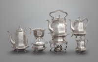 A FIVE PIECE JOHN CHANDLER MOORE COIN SILVER TEA AND COFFEE SERVICE AND HOT WATER KETTLE John Chandler Moore, New