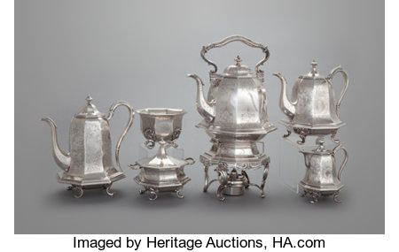 A FIVE PIECE JOHN CHANDLER MOORE COIN SILVER TEA AND COFFEE SERVICE AND HOT WATER KETTLEJohn Chandler Moore, New York, New... (Total: 6 Items)