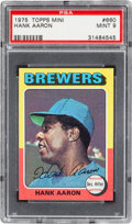 Baseball Cards:Singles (1970-Now), 1975 Topps Mini Hank Aaron #660 PSA Mint 9....