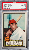 Baseball Cards:Singles (1950-1959), 1952 Topps Willie Jones, Black Back #47 PSA NM-MT 8 - Only OneHigher. ...