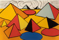 Fine Art - Work on Paper:Print, ALEXANDER CALDER (American, 1898-1976). Composition withPyramids, Circles and Clouds, 1970. Lithograph in colors.29-3/...