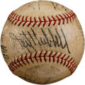 "Autographs:Baseballs, 1937 Carl Hubbell Game Used ""Win"" Baseball Signed by New York Giants Team...."