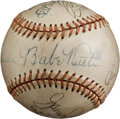 Autographs:Baseballs, 1930's-40's Babe Ruth & Hall of Famers Signed Baseball....