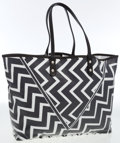 Luxury Accessories:Bags, Emilio Pucci Black & White Printed Coated Cotton Tote Bag. ...