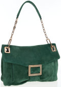 Luxury Accessories:Bags, Roger Vivier Green Suede Metro Bag . ...