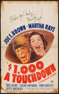 """Movie Posters:Comedy, $1000 a Touchdown (Paramount, 1939). Autographed Window Card (14"""" X 22""""). Comedy.. ..."""