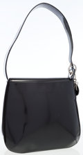 Luxury Accessories:Bags, Christian Dior Black Patent Leather Should Bag with DIOR Charm. ...