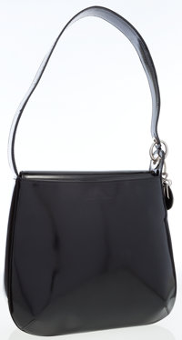 Christian Dior Black Patent Leather Should Bag with DIOR Charm