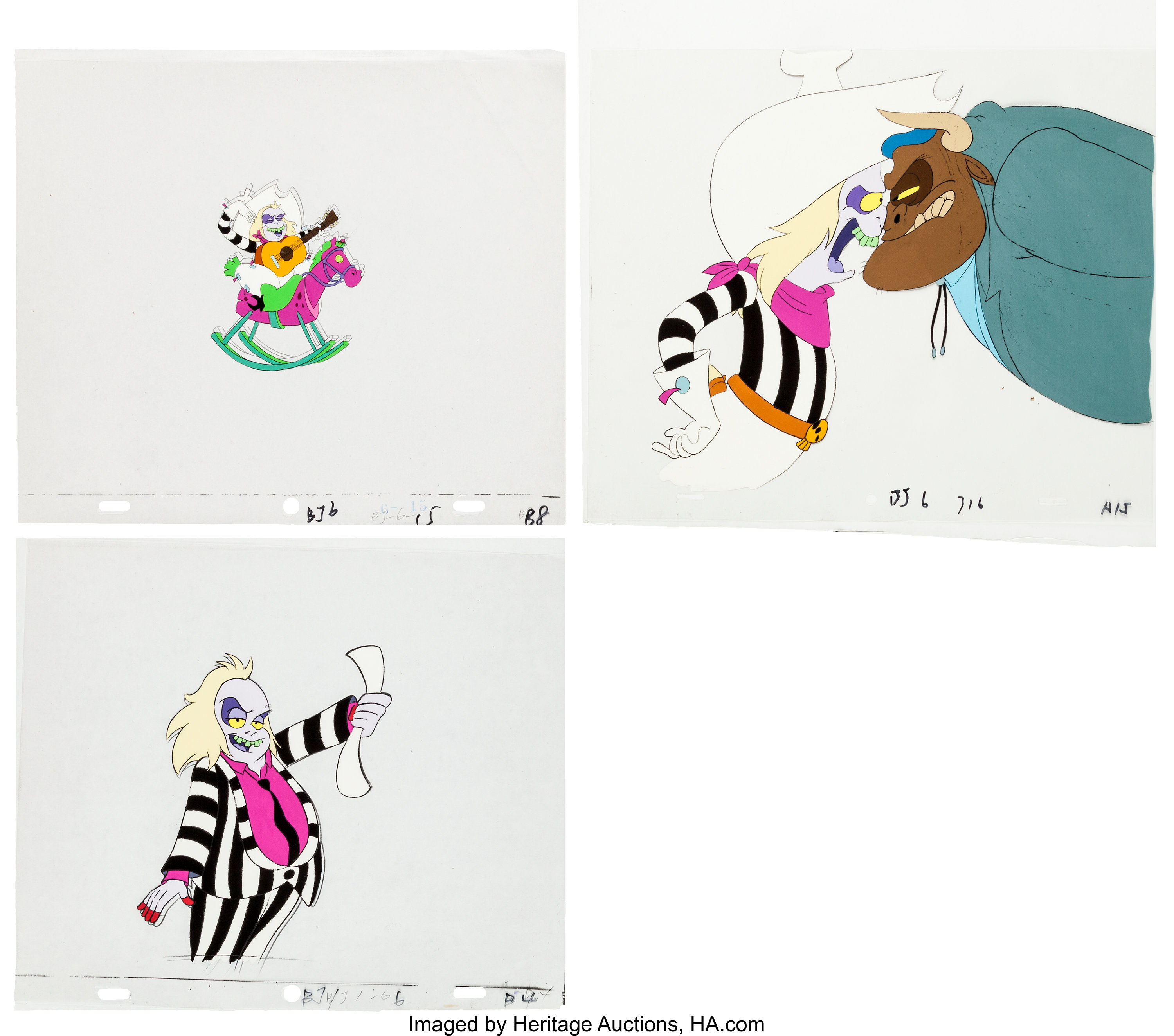 Beetlejuice Production Cel And Drawing Animation Art Group Warner Lot 14682 Heritage Auctions