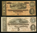 Confederate Notes:1864 Issues, T68 $10 1864 PF-1 Cr. 540. T69 $5 1874 PF-10 Cr. 546.. ... (Total: 2 notes)