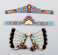 American Indian Art:Beadwork and Quillwork, TWO SOUTHERN PLAINS BEADED HIDE TIARAS AND A PAIR OF CUFFS...(Total: 4 )