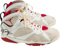 Basketball Collectibles:Others, 1992 Michael Jordan Game Worn Signed Air Jordan Shoes - Rare Style With Provenance. ...
