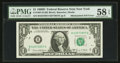 Error Notes:Mismatched Serial Numbers, Fr. 1907-B $1 1969D Federal Reserve Note. PMG Choice About Unc 58 EPQ.. ...