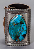 American Indian Art, A COCHITI SILVER AND TURQUOISE BOW GUARD. Attributed to Joseph H.Quintana. c. 1965 ...