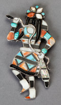 American Indian Art:Jewelry and Silverwork, A ZUNI SILVER, STONE, AND SHELL PIN. Attributed to Leo Poblano. c.1950...