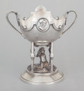 Silver Holloware, American:Cups, A REED & BARTON SILVER-PLATED TWO-HANDLED FIGURAL CUP. Reed& Barton, Taunton, Massachusetts, circa 1930. Marks: M'FD.& P...
