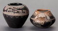 American Indian Art:Pottery, TWO MINIATURE SANTA CLARA ETCHED BLACKWARE JARS. Kevin Naranjo andGoldenrod (Gloria Garcia)... (Total: 2 )