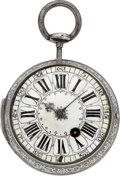 Timepieces:Pocket (pre 1900) , F. Prevost, Amiens, Early 18th Century Quarter Repeating SilverVerge Fusee, circa 1720. ...