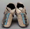 American Indian Art:Beadwork and Quillwork, A PAIR OF SOUTHERN PLAINS BEADED HIDE MOCCASINS. c. 1880 ...(Total: 2 Items)