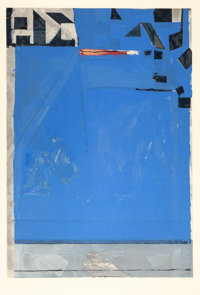 RICHARD DIEBENKORN (American, 1922-1993) Blue with Red, 1987 Woodcut in colors 33-3/4 x 23 inches
