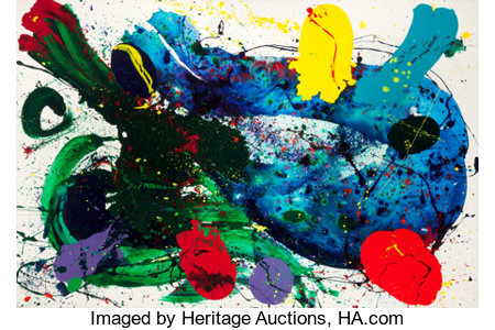 SAM FRANCIS (American, 1923-1994)Untitled, 1988Acrylic on canvas79-1/2 x 120 inches (201.9 x 304.8 cm) [painting h...